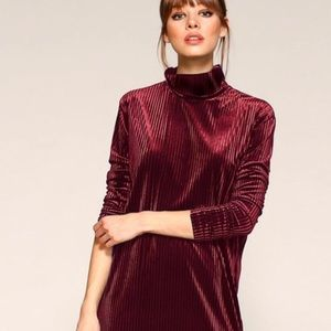 Burgundy Ribbed Velvet Shift Dress Stretch Large